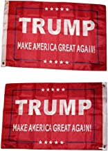 ALBATROS 2 ft x 3 ft President Trump America Great Red Double Sided 2ply Flag 2x3 House Banner for Home and Parades, Official Party, All Weather Indoors Outdoors