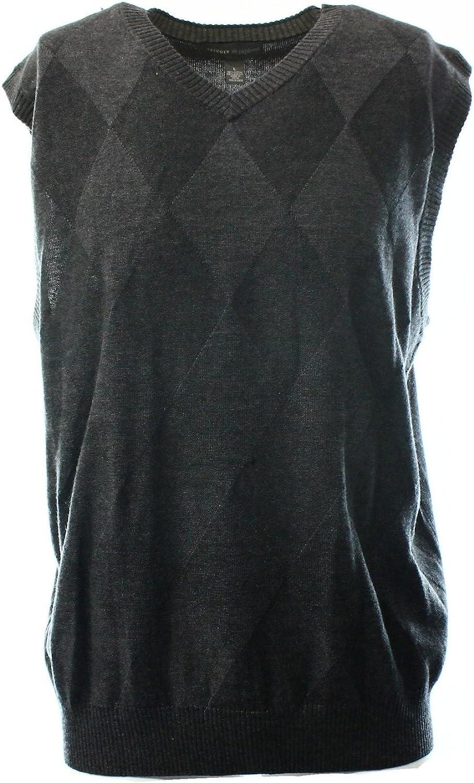 Tricots St. Raphael Textured Argyle Sweater Vest Carbon Heather M