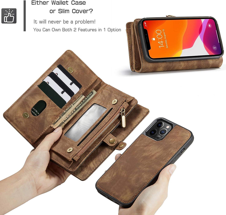 iPhone 12/12 Pro Wallet Case Detachable Magnetic Hard Case ...