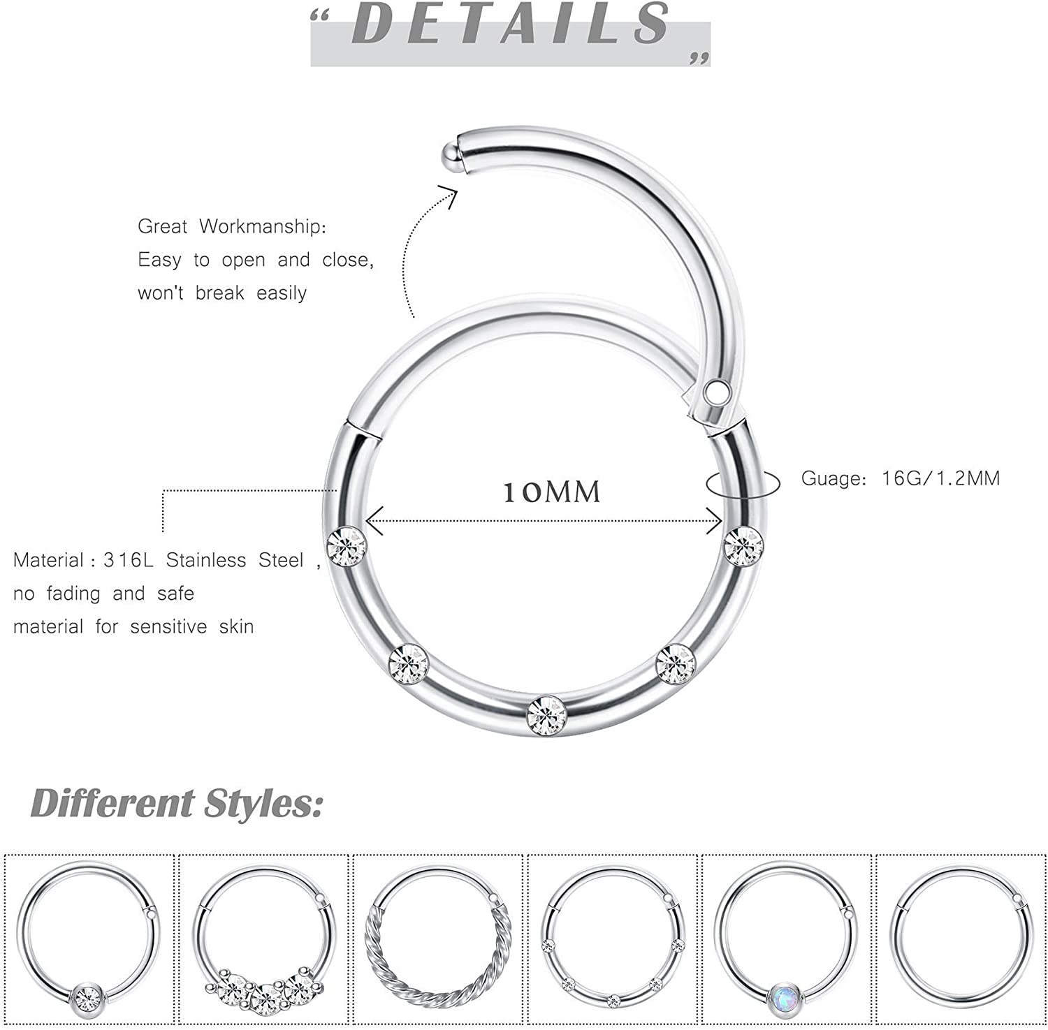 Subiceto Cartilage Hoop Earrings for Men Women Stainless Steel CBR Hinged Clicker Nose Ring Helix Septum Couch Daith Lip Tragus Piercing Sleeper Earrings Jewelry Set