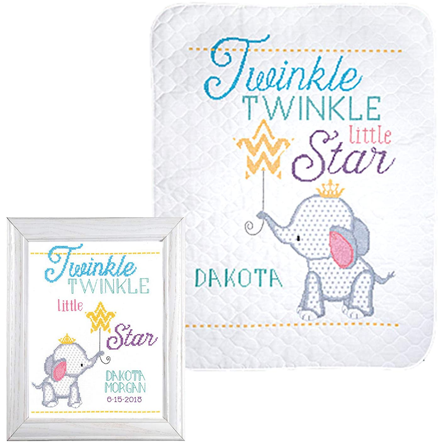 Janlynn - Nursery Décor Cross Stitch - Twinkle Twinkle Little Star - 2 Kits: Baby Quilt and Birth Announcement with 2 Gift Cards