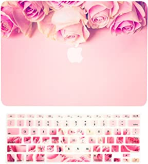 """TOP CASE - 2 in 1 Signature Bundle Graphics Rubberized Hard Case + Keyboard Cover Compatible MacBook Pro 13"""" (13"""" Diagonally) with Retina Display A1425 / A1502 (2012-2015 Release) - Pink Rose"""