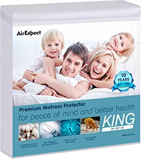"""AirExpect Waterproof Mattress Protector King Size 100% Cotton Hypoallergenic Breathable Mattress Pad Cover, 18"""" Deep Pocket, Vinyl Free - 76"""" x 80"""""""