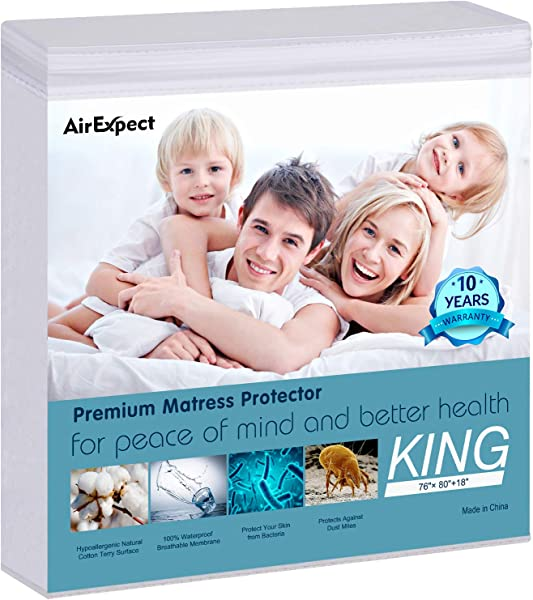 Waterproof Mattress Protector King Size AirExpect 100 Organic Cotton Hypoallergenic Breathable Mattress Pad Cover 18 Deep Pocket Vinyl Free 76 X 80
