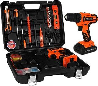 FADAKWALT Tool Kit with 20V Cordless Electric Drill, 36Pcs Accessories, 2pcs Li-Ion Battery, Charger, 0-400/1500RPM Variab...