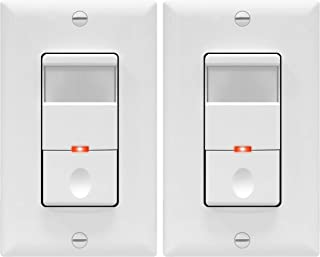 TOPGREENER Motion Detector Light Switch, In Wall Sensor Switch, Occupancy Sensor Switch, 4A, 500W 1/8HP, Wall Plates Included, Neutral Wire Required, TDOS5, White, (Pack of 2)