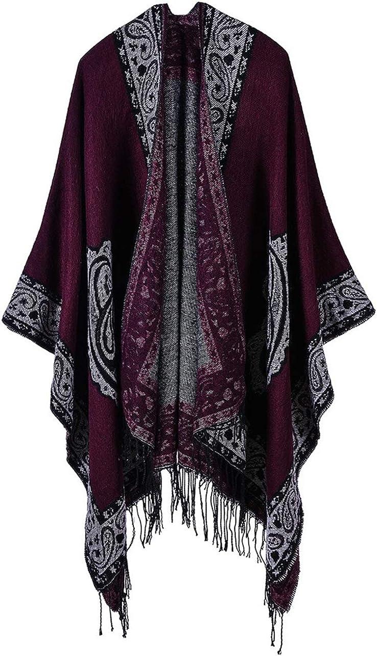 Idea Houses Women's Shawl Wrap Scarf Ethnic Wind Tassel Cashew Flower Thick Warm Poncho Cloak