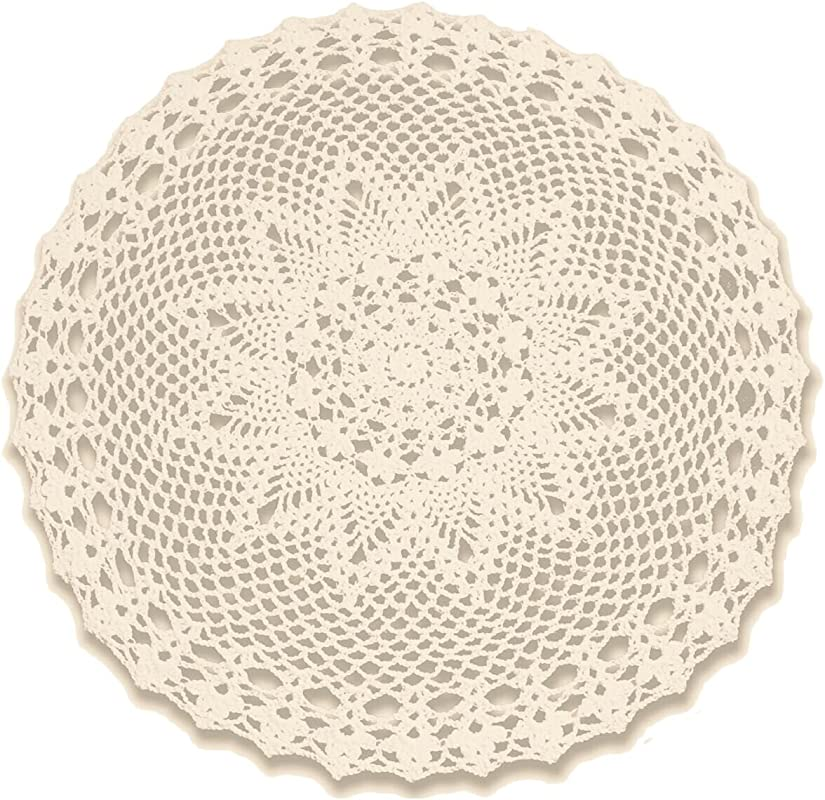 Gracebuy Beige 22 Inch Round Cotton HANDMADE Cotton Crochet Lace Tablecloth