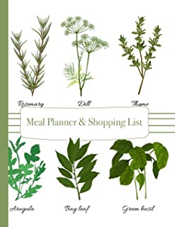 Meal Planner & Shopping List: 52 Weeks of Menu Planning Pages with Weekly Grocery Lists with Classic Herb Cover