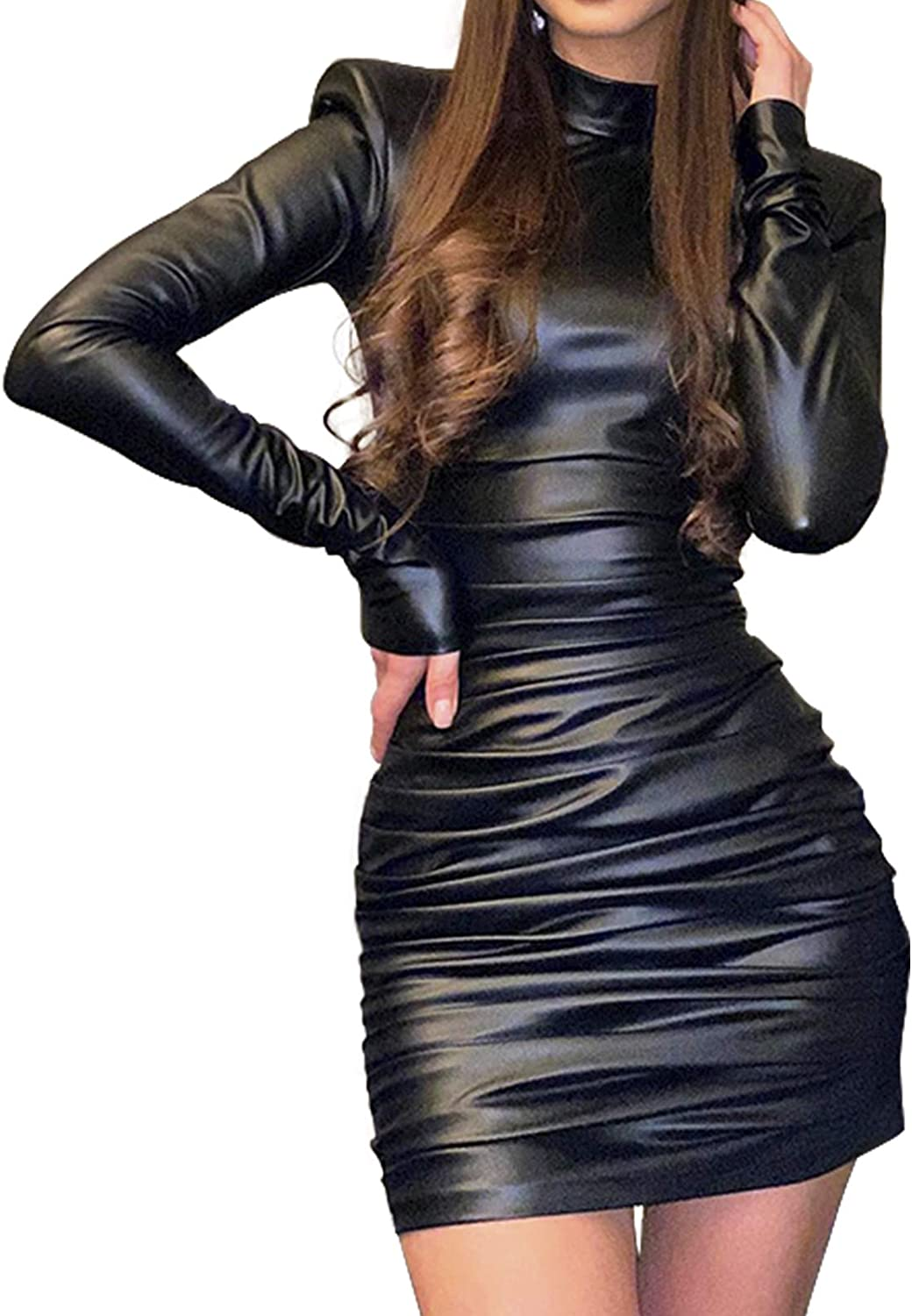 GUXMO Womens Bodycon Long Sleeve Dresses Glitter Sexy Ruched Mini Dress with Shoulder Pads Party Club Night Outfit