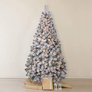 OasisCraft Snow Flocked Christmas Tree 6.5 Ft with 350 Light, Prelight Artificial Pine Xmas Tree