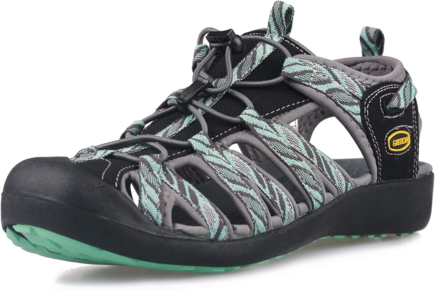 GRITION Women Athletic Hiking Sandals Closed Toe Water Shoes Adventure Outdoor Sport Trail Summer