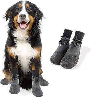 Fship Dog Socks Anti-Slip Knit Dog Paw Protector Waterproof Dog Booties for Indoor Outdoor Wear 2 Socks in 1 Set