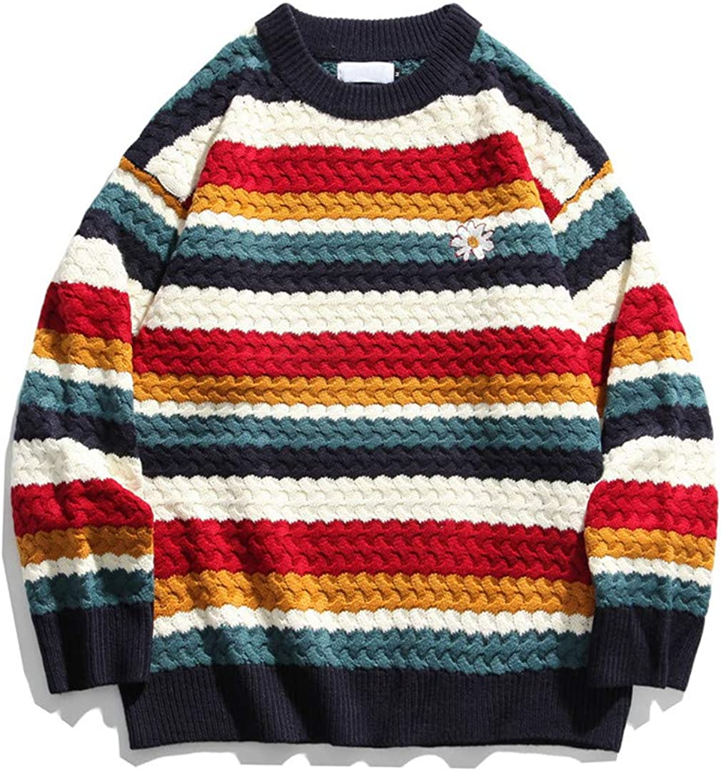 Striped Floral Embroidery Men's Sweater Students Sweaters Preppy Style Couple Sweater
