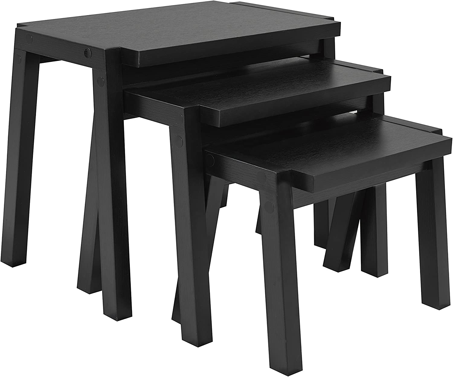 Brassex 161580-X3 Solid Wood 3 Piece Nesting Table Set in Black