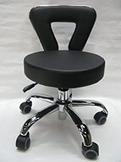 Spa Chair Pedicure Stool for Nail, Hair, Facial Technician (Short, Black)