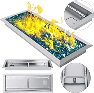 VEVOR 25.5 Inch Fire Pit Pan Stainless Steel Linear Trough Drop-in Fire Pit Pan Rectangular Table Top Fire Pit Fire Bowl, 90k BTU, Double Burner