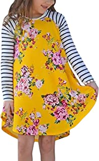 Blibea Girls Casual Floral Print Long Striped Sleeve Swing T-Shirt Midi Dress