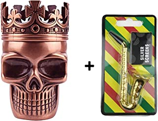 Remanker Metal Spice Herb Grinder with Pollen Catcher Sharp Teeth Skull Shape for Tobacco Herb Pepper 3 in 1 (Red Bronze/Saxophone Pipe)