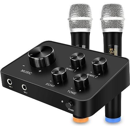 Rybozen Ensemble de système de mixage mixer de microphone portable karaoké, avec double micro sans fil UHF, entrée/sortie HDMI et AUX pour karaoké, cinéma maison, amplificateur, haut-parleur
