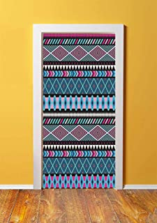 Tribal Decor 3D Door Sticker Wall Decals Mural Wallpaper,Vector Vintage Ethnic with Boho Stripes and Shape Image Print,DIY Art Home Decor Poster Decoration 30.3x78.6161,Hot Pink Sky and Dark Blue