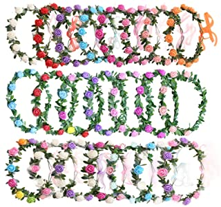 AmFor 22 Pcs Multicolor Rose Flower Wreath Crown Headband Garland Headpiece for Music..
