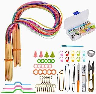 Aiguilles Circulaires Bambou,18 Paires Aiguille Tricoter 2mm-10mm Tube Multicolore Rondes Aiguilles Crochet avec 58 pcs Ac...