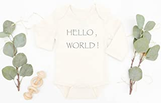 Hello World Organic Cotton Baby Bodysuit, Coming Home Outfit, Baby Shower Gift, Newborn Outfit, Gift for Mom to be, Infant Girl, Infant Boy