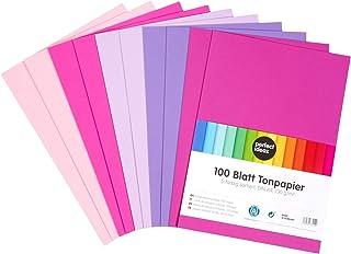 perfect ideaz 100 feuilles de Cartonette A4, rose, rose-vif, violet, lila, éosine, Papier à dessin, teinté dans la masse, ...