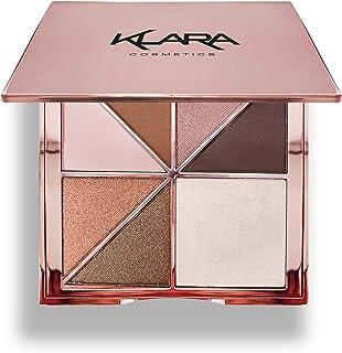 Klara Cosmetics Paris Eyeshadow Highlight Palette Rosegold Shimmer Glitter Sparkle Luxury Versatile Crease-free easy-blend...
