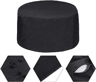 Essort Schutzhülle für Gartenmöbel, rund, 600D Oxford, Schutz für den Außenbereich, robust, wasserdicht, staubdicht, UV-Schutz 80 x 40 cm, Schwarz