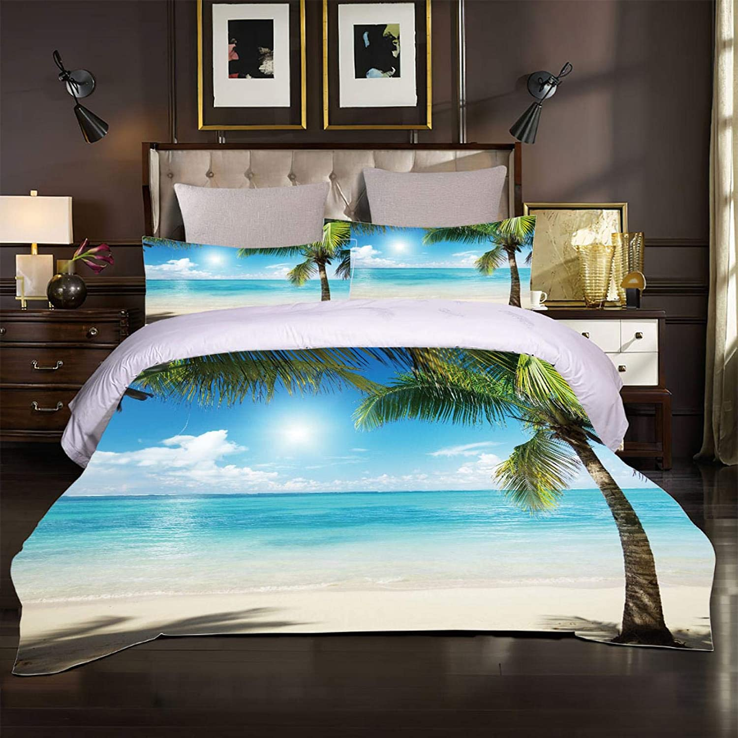 YUEKDA 3-Piece Duvet Cover Sets - 3D Max 43% OFF se Coconut Tropical Printed Opening large release sale