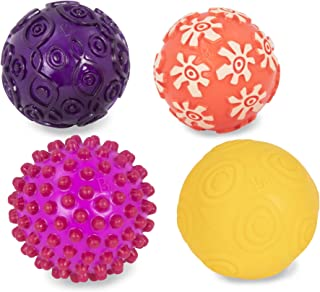 B. toys by Battat Oddballs - 4 Sensory Toy Balls in Warm Colors For Toddlers Aged 6 Months +