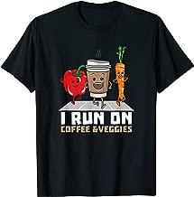 I Run On Coffee Veggies T-Shirt Vegetarian Vegan Runner Gift