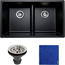 Enbol GDS-3118-B, 31 Inch Black Color Quartz Granite Composit Engineered Stone Double Bowl 50/50 Undermount Kitchen Sink, ...