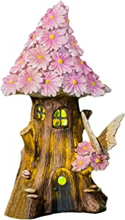 Topadorn Spring Pink Petals Lighted Fairy House Outdoor Garden Statue with Solar Panel