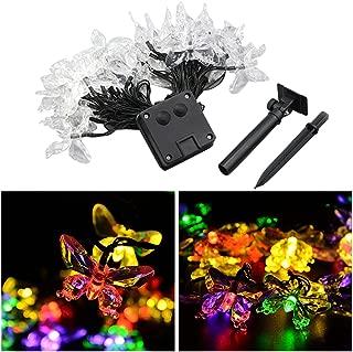 LEDMOMO 20 LEDs Solar String Lights LED Butterfly Fairy Light Waterproof 4.5m (Multicolor Light)