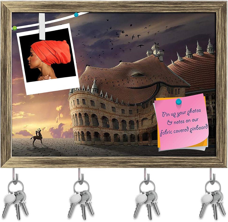 Artzfolio Big Dragon Key Holder Hooks   Notice Pin Board   Antique golden Frame 16.6 X 12Inch