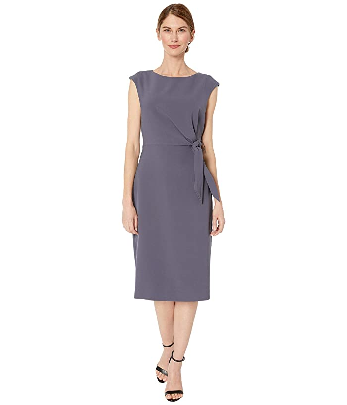 Tahari by ASL  Petite Side Tie Stretch Crepe Shift Dress (Navy) Womens Dress