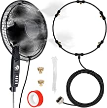 Fan Misting Kit, Outdoor Fan Misting Cooling System with 19.36FT (5.9M) Misting Line + 5 Brass Mist Nozzles + a Brass Adapter(3/4