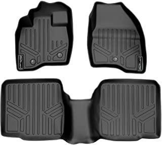 SMARTLINER Custom Fit Floor Mats 2 Row Liner Set Black for 2017-2019 Ford Explorer Without 2nd Row Center Console