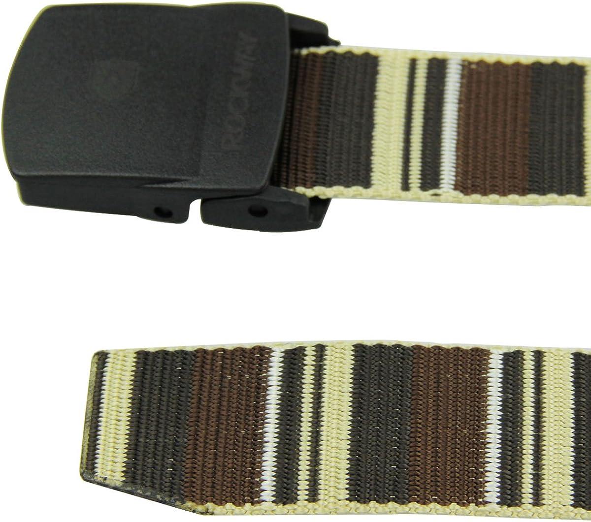 RockWay Unisex Nylon Belts Colorful Modern Striped Nylon Belt with Hypoallergenic Buckle Coffee Travel Belt