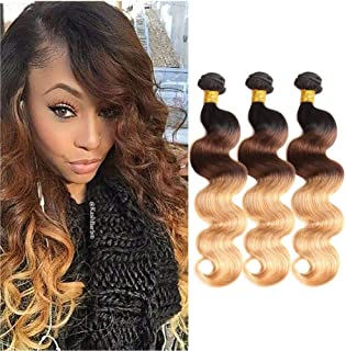 Ombre Brazilian Hair Body Wave 3 Tone Ombre Bundles Human Hair, Ombre Body Wave 3 Bundles Ombre Bundles Remy Hair Body Wave (T1B/4/27,14
