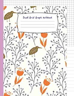 Dual Grid Graph Notebook: Flower and Bird Composition Book Half Lined and Half Graph 5x5 on Same page, Coordinate, grid, squared, math paper, Diary Journal Organizer to get creative