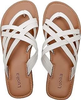 Women's Wide Width Slide Sandals - Slip On Flat Cross Strap Casual Summer Shoes.