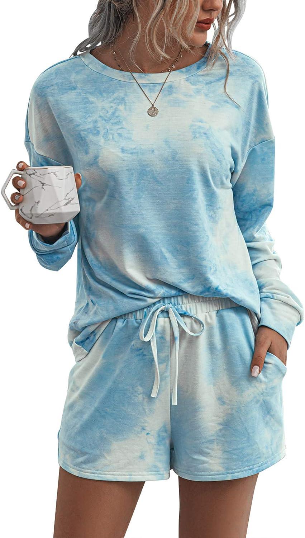 Womens Tie Dye Printed Pajamas Set Long Sleeve Shirt with Elastic Shorts Casual Wear Sleepwear Nightwear
