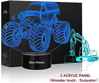 3D LED Tractor Nightlight Excavator Sleeps Illusion Touch Lamp Night Light Dimmable 7 Colors Excavator Light Kids Monster Truck Decor for Christmas Kids' Room Living Room Bedroom Gift
