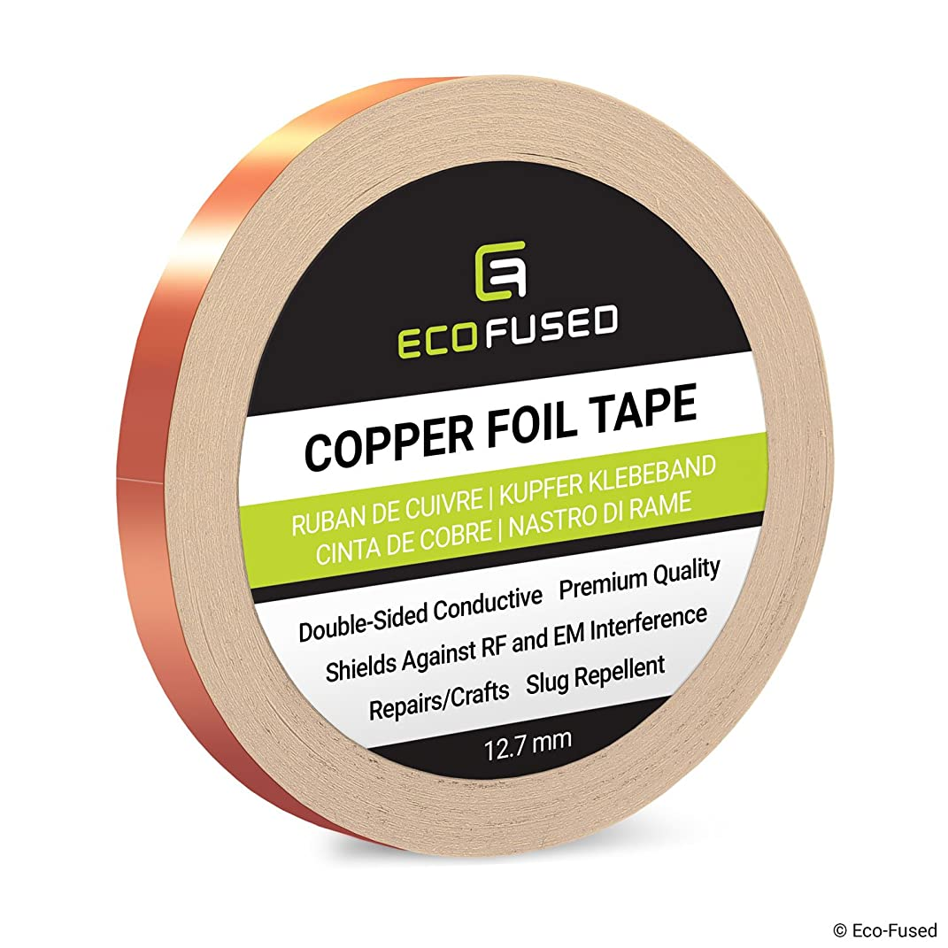 Premium Adhesive Copper Foil Tape - Double-Sided Conductive - 0.5 inch (12.7 mm) - EMI and RF Shielding, Paper Circuits, Electrical Repairs, Grounding, Arts and Crafts, Home Interior, Slug Repellent