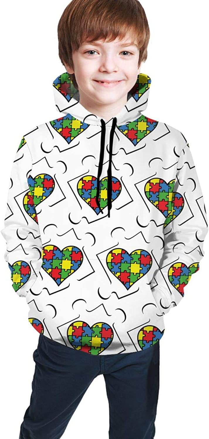 Kids Hoodies Autism Awareness 3D Colorful for Fees Max 82% OFF free Boys