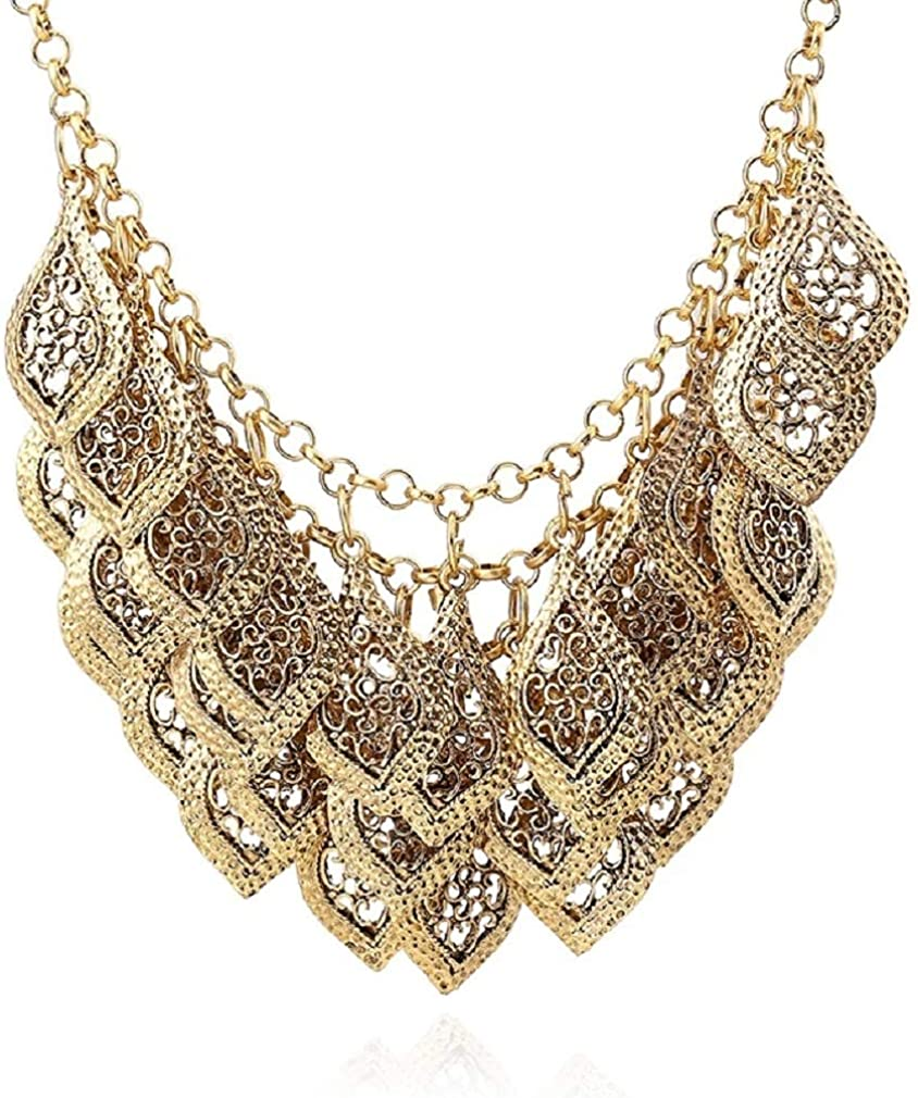 YAZILIND Vintage Gorgeous Multilayer Gold Plated Leaves Chain Collar Bib Chunky Necklace